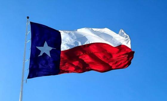 Texas one star flag waving in the wind